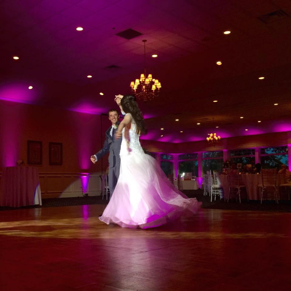Michigan DJ Dance Floor Lighting rental -first dance spotlight with uplighting, Michigan DJ Lighting, Up Lighting for wedding, Uplighting for wedding, Michigan Up Lighting