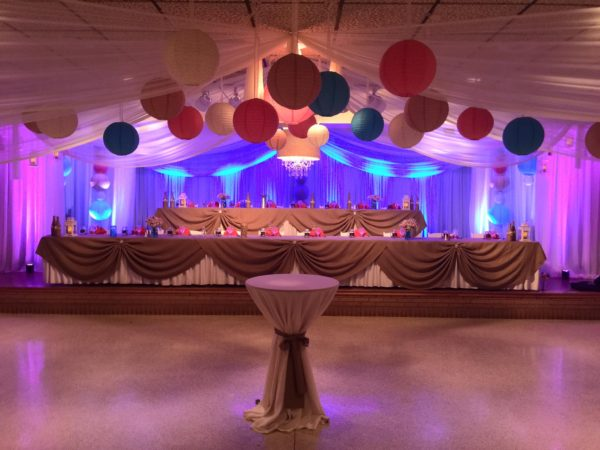 wedding purple and blue uplighting rental