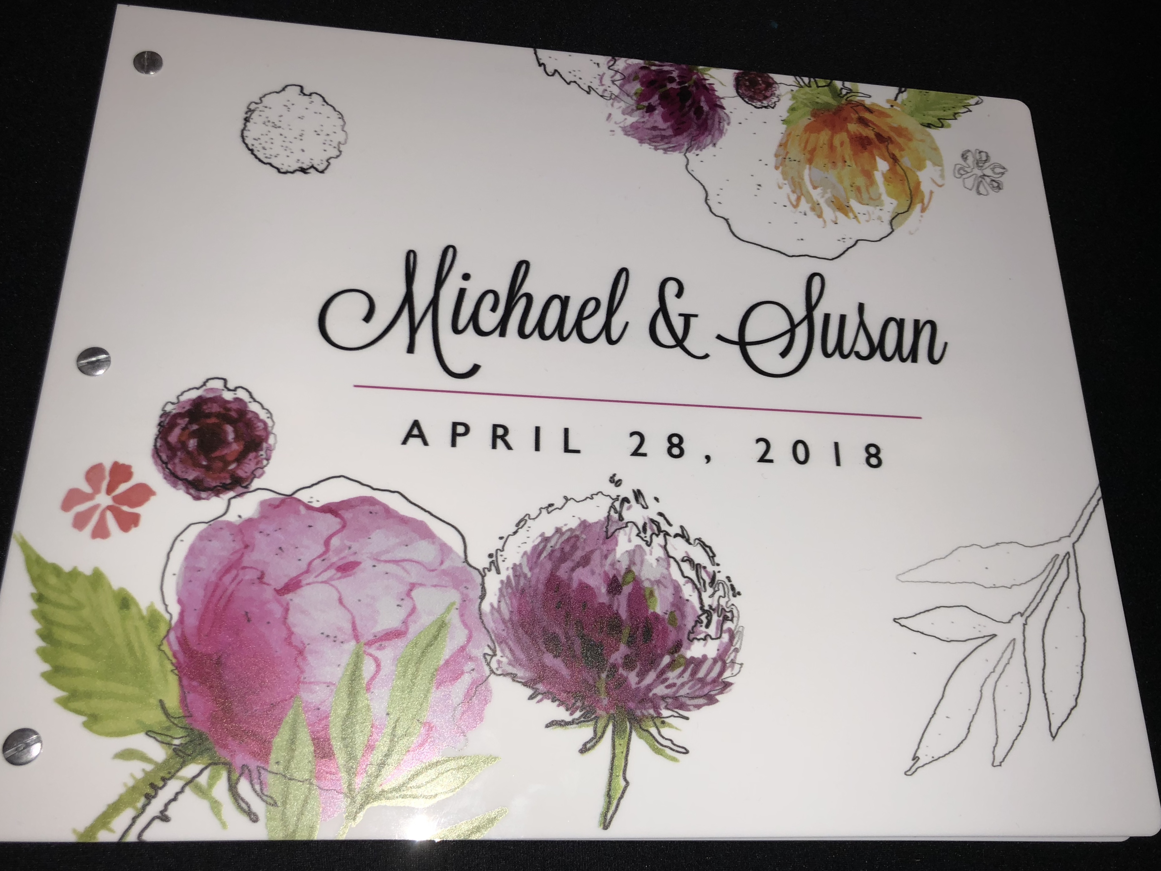 Custom memory book for Photo Booth rental, photo booth memory book