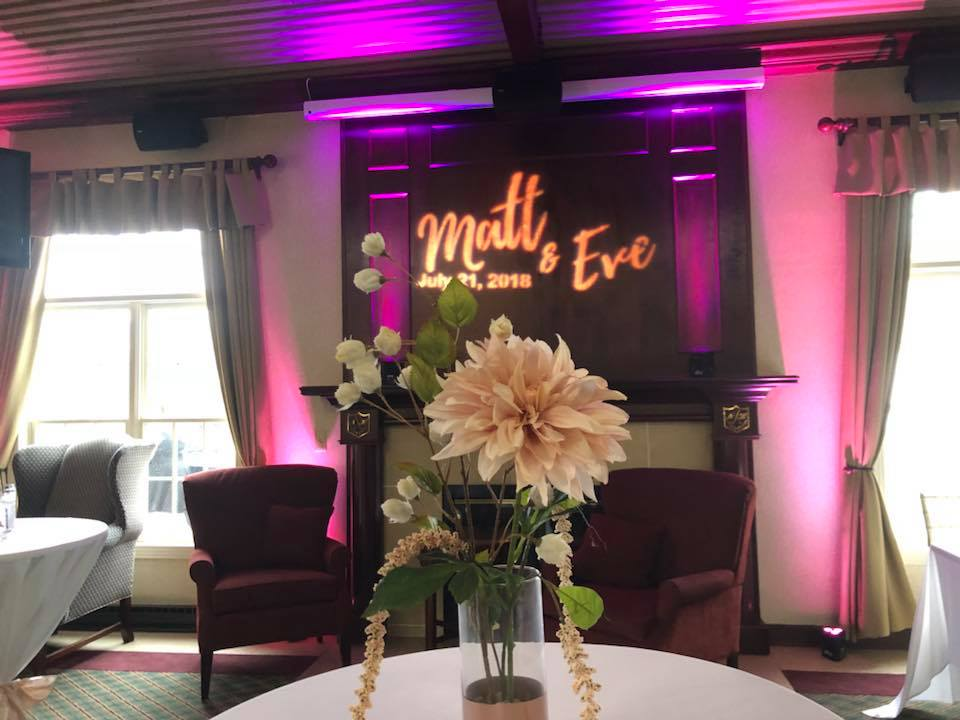 uplight with monogram at wedding decor dd2dj, Wedding Lighting, unique wedding lighting, uplighting, party lights