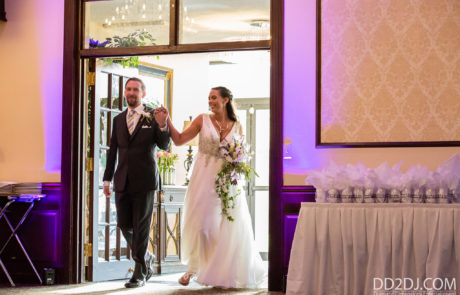 wedding disc jockey michigan- Grand grand entrance with uplighting- wedding photographer