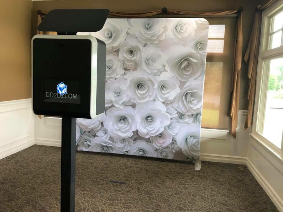 Modern open air Photo Booth rental with flower backdrop , Photo Booth for wedding, Wedding Photo Booth
