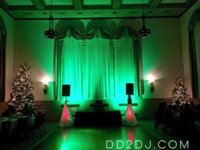 Green and Red Christmas Holiday party DJ with up lights in Wayne county Michigan,