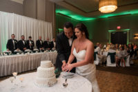 Bride and groom cutting wedding cake- Cake cutting songs for Detroit Wedding Dj with Uplighting