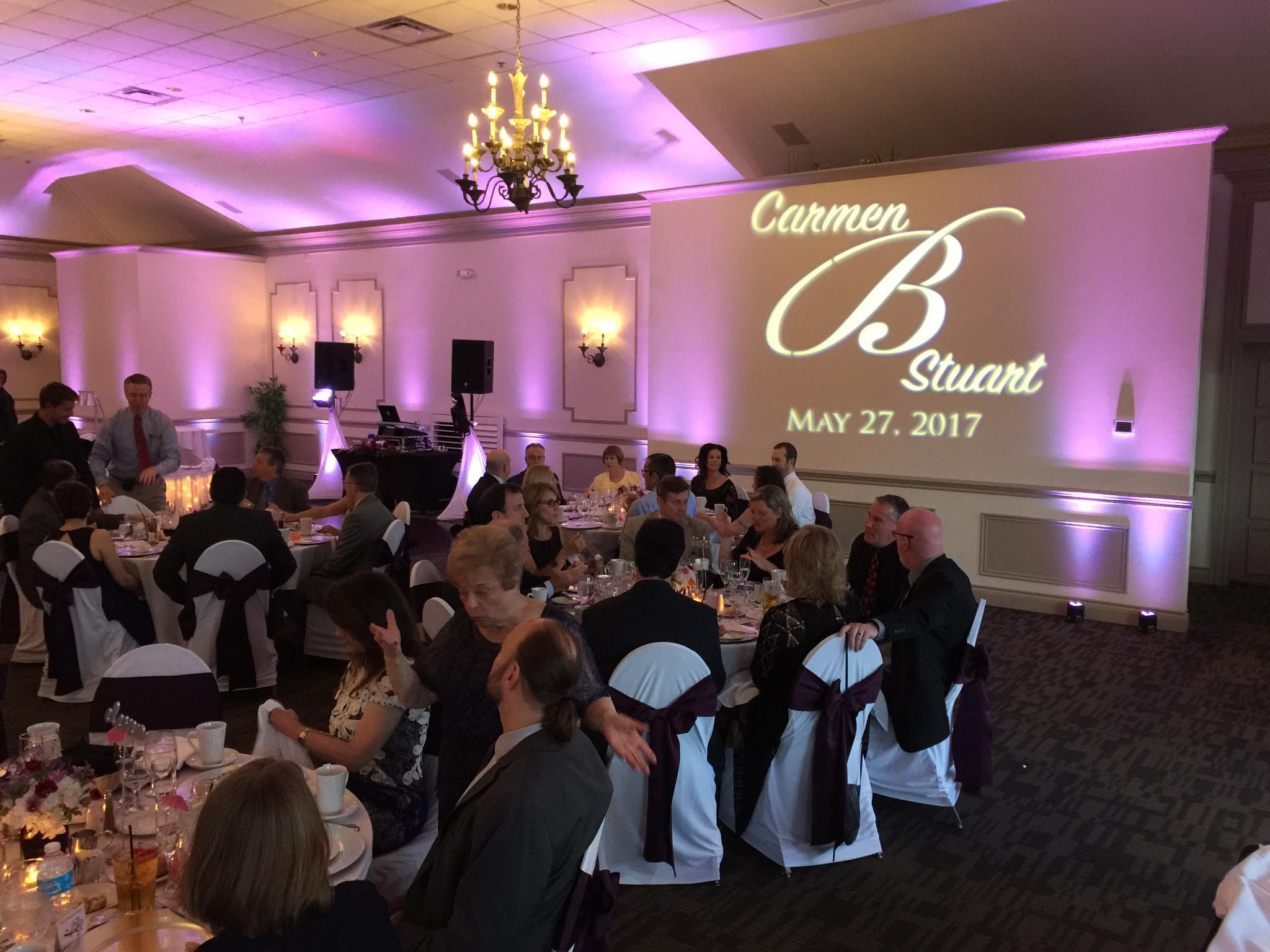 lights for weddings- pink uplighting rental in Michigan with custom gobo for weddings