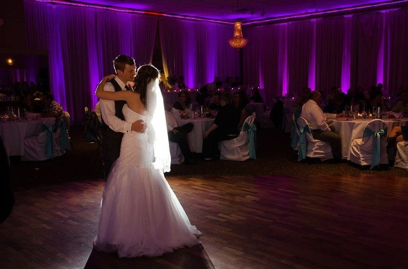 Michigan Wedding DJ first dance with purple uplighting for rent in Michigan
