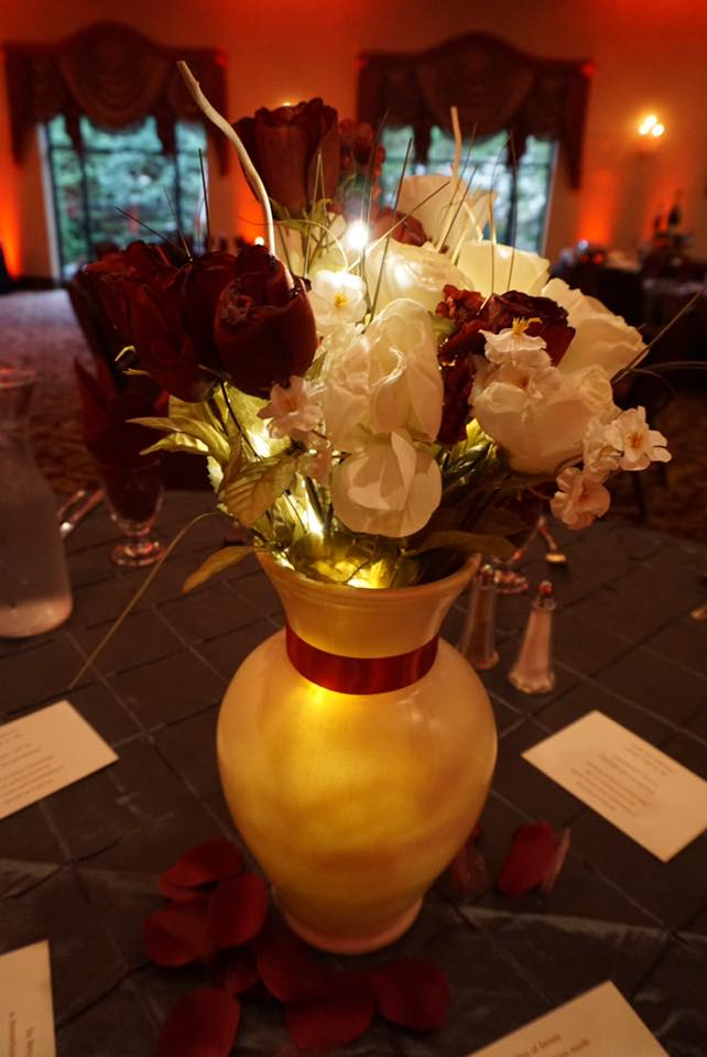 wedding uplighting 0range centerpiece