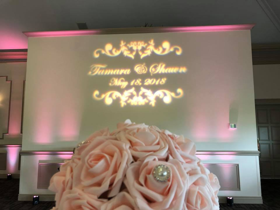 pink Wedding uplighting rental near me with monogram- Light rentals