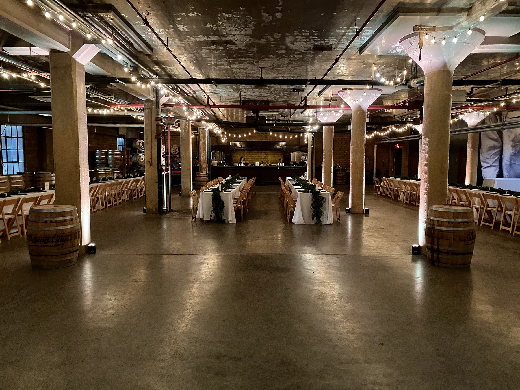 Detroit wedding uplighting at The Whiskey Factory in detroit MI