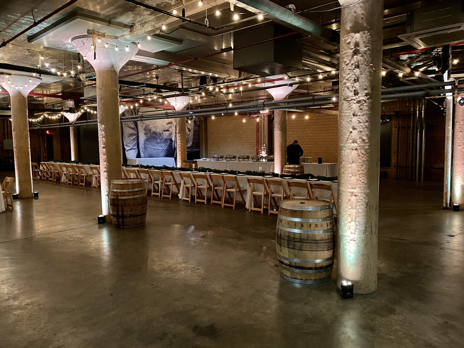The Whiskey Factory wedding with Detroit wedding uplighting